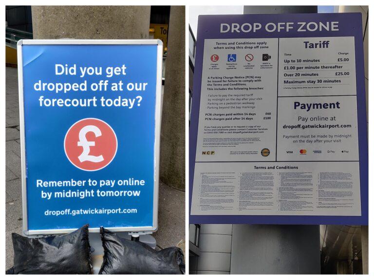 Gatwick Airport fee for passenger drop-offs
